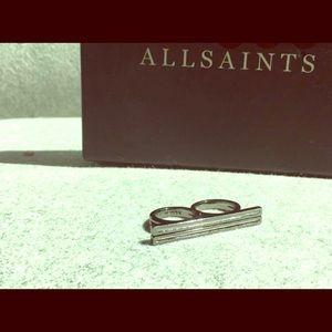 Allsaints (Duchamp) double finger ring-Hematite🔥